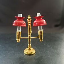 Vintage Miniature Dollhouse Brass Double Student Lamp Rare