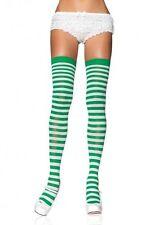 LEG AVENUE green &  white stripe christmas elf thigh high stockings (40KG- 73KG)