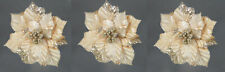 3 x Champagne Gold Poinsettia Clip On Pick Christmas Decoration 22cm