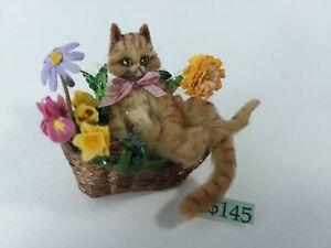 Bridget McCarty OOAK Miniature Dollhouse Cat in Flower Basket 1 x 1.75 x 1.25