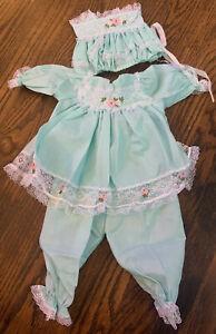 """Lee Middleton Original Multi-piece Doll Outfit Dress Pantaloons Bonnet Lace 20"""""""