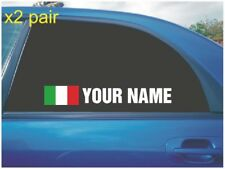 YOUR NAME RALLY RACE CAR WINDOW STICKER DECAL ITALY ITALIAN FLAG IN WHITE X2
