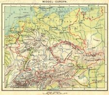 EUROPE. Middel- Europa 1922 old vintage map plan chart
