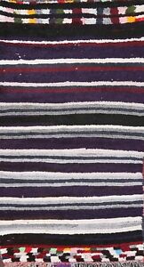 Vintage Striped Oriental Moroccan Area Rug Wool Hand-knotted Modern Carpet 3x5