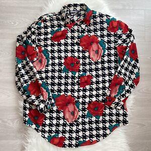 Graver Studio Vintage Blouse Size Medium 80s Floral Poppy Houndstooth Funky