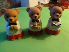 "Homco Home Interiors Caroling Bears ""3� Christmas Ornament Collectible #5100"