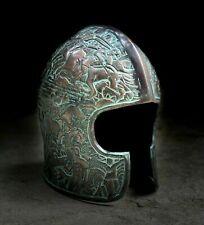 2MM Green Chrome Medieval Bascinet Helmet Knight Historical Helmet ZH003