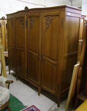 Vintage Louis XV Style French Carved Oak 4 Door Wardrobe  -  (00903)