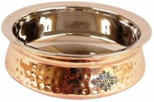 Handmade Steel Copper Handi Bowl, for Serving Indian Dishes, Tableware, 750 ML