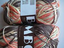 MeiMei Bamboo 100% bamboo yarn, brown/orange/green, lot of 2 (181 yds each)