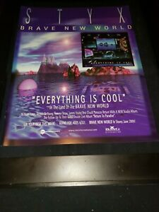 Styx Everything Is Cool Rare Original Radio Promo Poster Ad Framed!