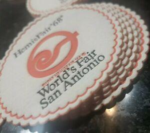 """LOT OF 5 1968 HemisFair TEXAS World's Fair San Antonio 3 1/4 """" Coasters  UNUSED"""