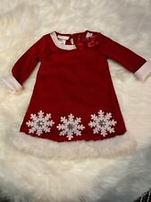 Bonnie baby Christmas Dress 24 Months Red Snowflake Girl