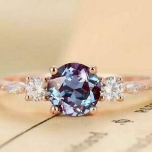 2.10Ct Cushion Cut Alexandrite & Diamond Engagement Ring 14K Rose Gold Finish