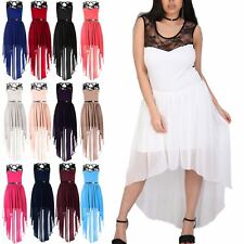 Plus Size Womens Ladies Hi Lo Dip Hem Asymmetric Lace Chiffon Belted Midi Dress