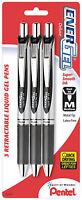 Pentel Energel Deluxe Liquid Gel Pens Retractable Black Ink Medium 0.7mm Line