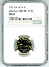 1982 CANADA 5 CENT NICKEL NGC MS65 UNCIRCULATED SET ISSUE