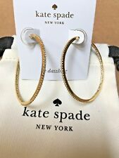 NEW Kate Spade New York Save The Date Pave Large Hoop Earrings Gold WBRUF617