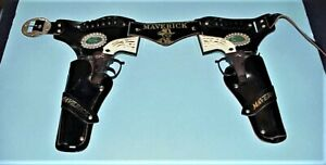 "VINTAGE 1950's ""MAVERICK"" TWIN 45 GUNS & HOLSTERS SET, FROM: LESLIE HENRY CO."