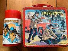 1973 Emergency TV Show Vintage Metal Lunch Box & Thermos Squad 51 LJN Lunchbox