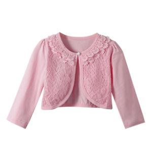Kids Girls Lace Princess Long Sleeve Fashion Cardigan Shrug Tops Age 2~9 Years