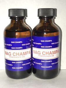2 Bottle NAG CHAMPA PREMIUM FRAGRANCE HOME BURNER ESSENTIAL OIL 60ML/2OZ BIG NEW