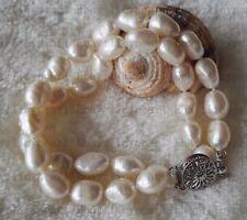 schöne 2 Reihe 8-9mm kultiviert Weiß Barock Süßwasser Perlen armband