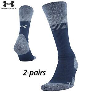 UA Socks: 2-PAIR Unrivaled 3.0 Crew (XL) Academy Blue
