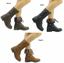 New Qupid Seattle-01X Tribal Cuff Military Lace up Boots Size 5.5-10