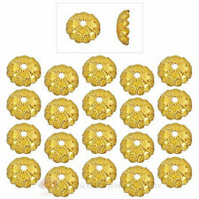 (20) 22k Gold Plated 7mm Fancy Domed Bead Caps Jewelry Necklace Bracelets