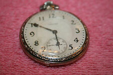 1938 Hamilton 14K White Gold Filled Pocket Watch Running