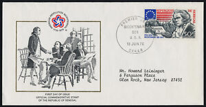Senegal 430 on addressed FDC - Thomas Jefferson, Flag, American Bicentennial
