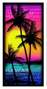 """Hawaiian Beach Towel Sunset Palm Trees Hawaii Islands Names Cotton 59""""x27"""" NIB"""