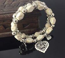 Cream Bead Gemstone Double Bracelet Beads Bangle Beaded Heart Love Boho Stretch