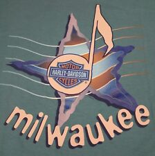 Vtg 90s Harley Davidson T-Shirt Milwaukee Holoubek Music Note Star Made in USA