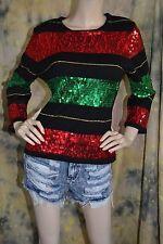 vtg 80s 90s BEREK 2 stripe SEQUIN red green HOLIDAY black sweater L