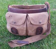 Unusual Vintage Antique Leather & Canvas Fishing Creel Gamekeeper