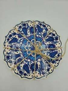 SET OF 2 Trivet Turkish Handmade Iznik Ceramic Hot Plate Blue Floral Gift set