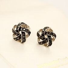 925 Sterling Silver Lady's 11mm Knot Crystal Stud Earrings Antique Style Gift
