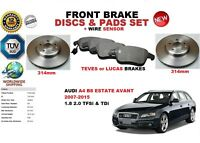 FOR AUDI A4 ESTATE AVANT ALLROAD 07-15 FRONT BRAKE DISC SET + PAD KIT + SENSOR