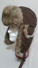Nathaniel Cole Real Rabbit Fur Crowncap Winter Hat With Ear Flaps Brown XL LN