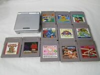 L472 Nintendo Gameboy Advance SP console Platinum Silver & 11 Game Japan GBA