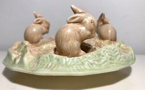 Sylvac England Vintage Candle Holder Vase Planter 3 rabbits bunnies Easter 1312