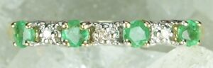 NEW Genuine Solid 9CT Yellow Gold Real Natural Emerald Diamond Eternity Ring  M