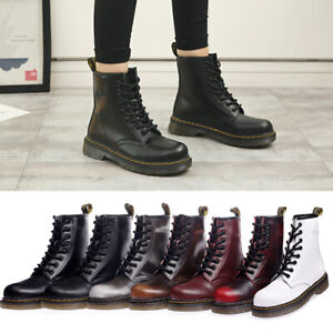 Women Men Punk Short Ankle Boots Genuine Leather Lace Up Couple Shoes Plus Size