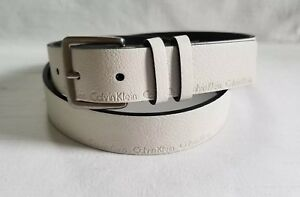 Calvin Klein women's white synthetic leather belt size L F20