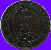 XIXème Siècle Napoléon monnaie de 2 CENTIMES 1857 W  LILLE  patine origine