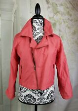 Cabi womens long adjustable sleeve moto jacket size small cropped coral b14a