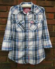 SUPERDRY Ladies Soft Cotton Checked Long Sleeved Shirt Size Small - VGC
