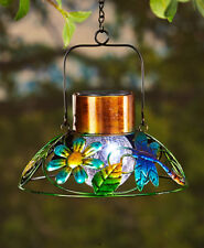 Stunning Colorful Solar Porch Patio Dragonfly Garden Lamp w/ Crackled Glass Bulb